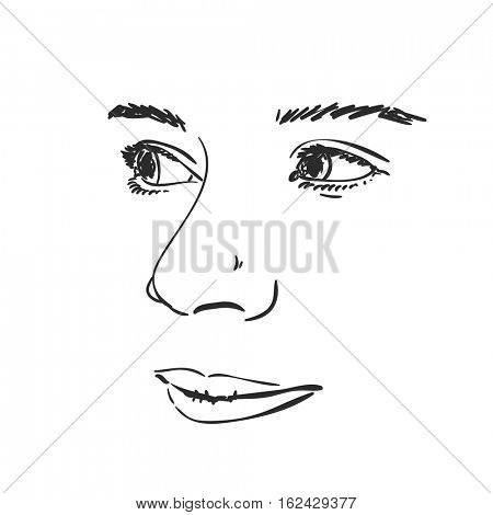 Face of beautiful young girl, Vector sketch Hand drawn illustration