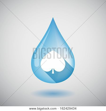 Isolated Water Drop With  The  Spade  Poker Playing Card Sign