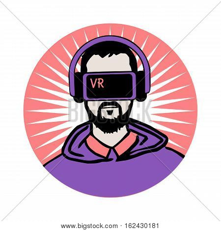 Man in virtual reality headset. Stylized character people avatars set. Person with VR glasses and headphones. Cartoon virtual reality concept. Print on white background