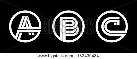 Capital letters A, B, C. From double white stripe in a black circle. Overlapping with shadows. Logo, monogram, emblem trendy design.