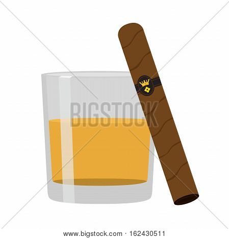 Glass of whiskey with cigar. Premium alcohol, tobacco. Flat vector style
