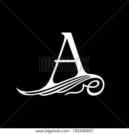 Capital Letter A for Monograms, Emblems and Logos. Beautiful Filigree Font. Is at Conceptual wing or waves. poster