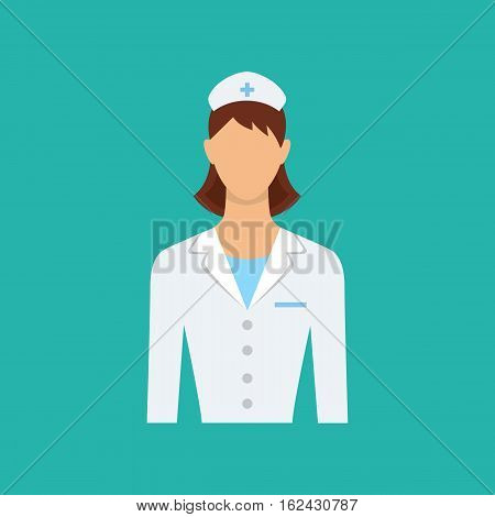 Female doctor nurse. Medical nurse in white uniform. Isolated vector character. Flat web icon.