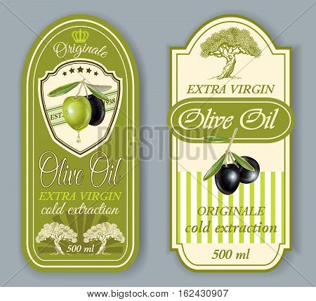 Vector vintage style oilve oil labels. Elegant design for olive oil packaging. Only free fonts used. Font names included in the layers