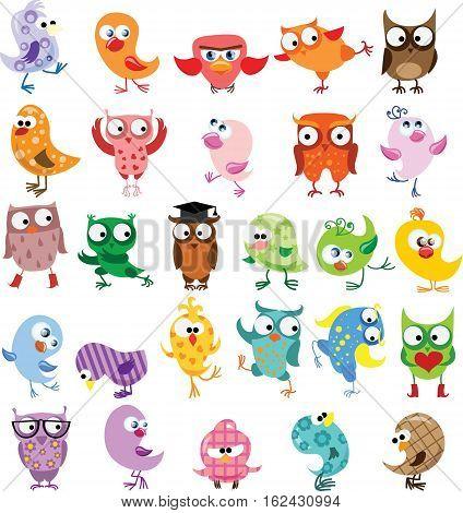 Set of vector cartoon birds,Set of vector cartoon birds