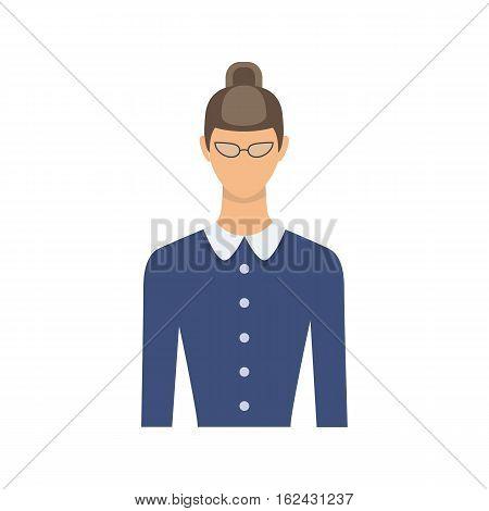 Female teacher avatar. Teacher woman character. Tutor. Vector illustration in flat style.