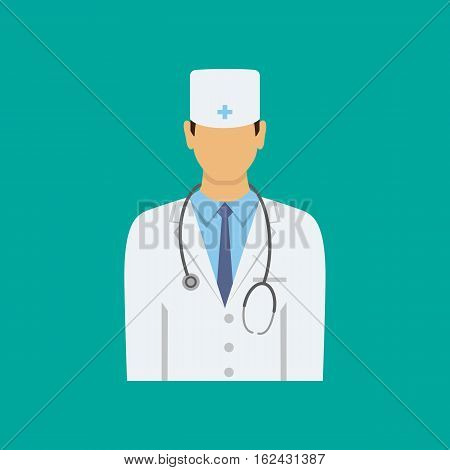 Male doctor flat icon. Medical hospital stethoscope and health occupation doctor job doctor uniform illustration.