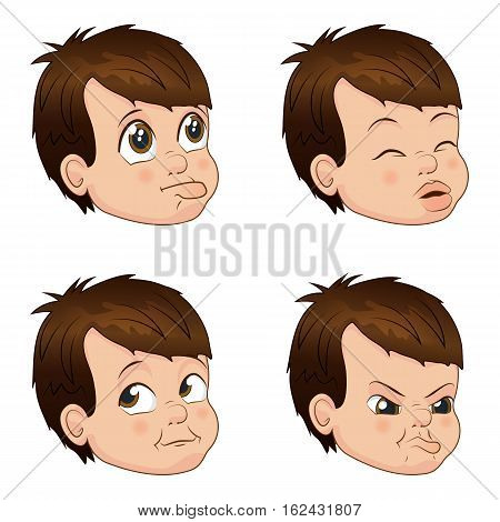 Set of cute little bully boy faces showing different emotions. Vector Illustration