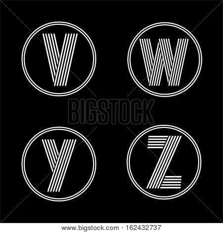 Capital letters V, W, Y, Z . From white stripe in a black circle. Overlapping with shadows. Logo, monogram, emblem trendy design.