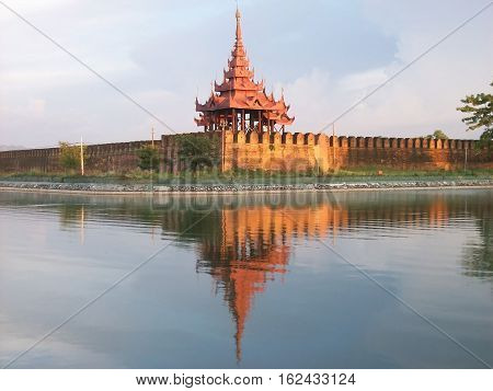 Royal palace to Mandalay in Myanmar in southeast-asia