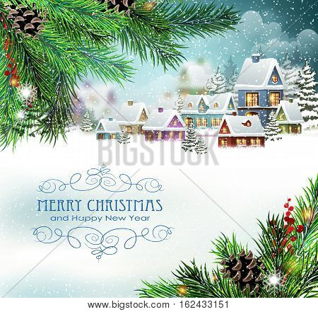 Evening city winter landscape with snow covered houses and christmas tree. Christmas holidays vector illustration