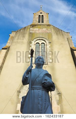 Saint-Laurent-sur-Sevre France - September 10 2019: Statue of Saint Louis Montfort in Catholic church in Saint-Laurent-sur-Sevre France.