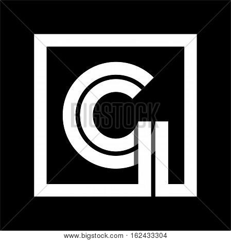 Capital letter G From white stripe enclosed in a square . Overlapping with shadows monogram, logo, emblem. Trendy design.