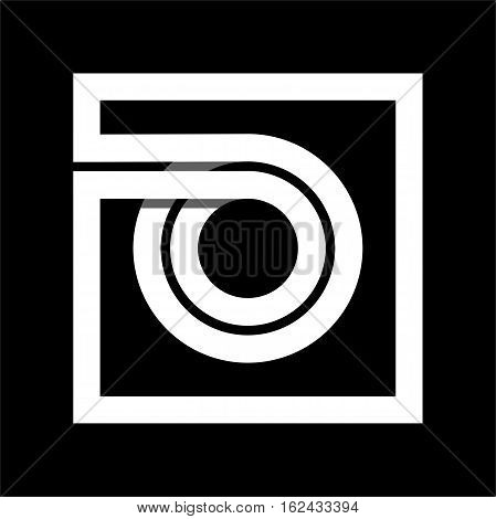 Capital letter O From white stripe enclosed in a square . Overlapping with shadows monogram, logo, emblem. Trendy design.