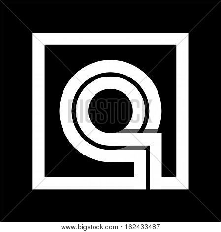 Capital letter Q From white stripe enclosed in a square . Overlapping with shadows monogram, logo, emblem. Trendy design.