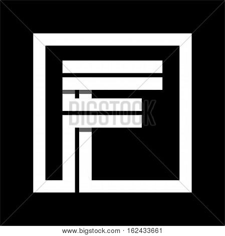 Capital letter F From white stripe enclosed in a square . Overlapping with shadows monogram, logo, emblem. Trendy design.