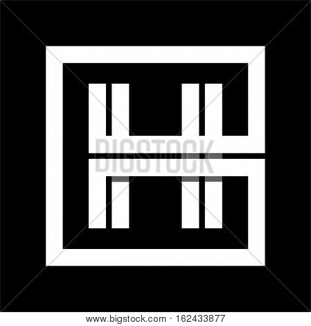 Capital letter H From white stripe enclosed in a square . Overlapping with shadows monogram, logo, emblem. Trendy design.
