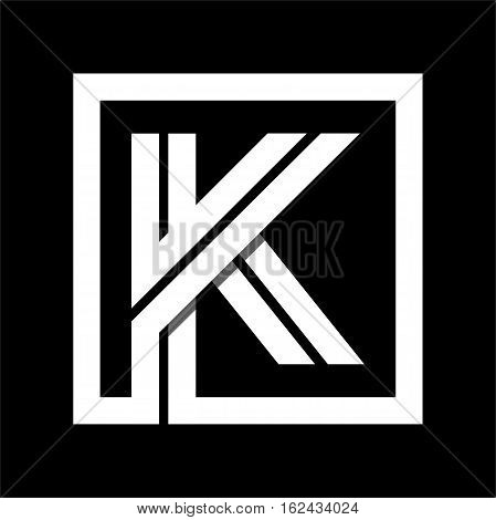 Capital letter K From white stripe enclosed in a square . Overlapping with shadows monogram, logo, emblem. Trendy design.
