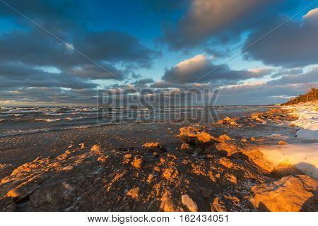 Lake Huron Shoreline In December - Ontario, Canada