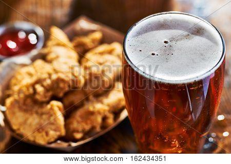 beer and fried chicken tenders