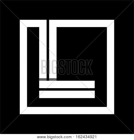 Capital letter L From white stripe enclosed in a square . Overlapping with shadows monogram, logo, emblem. Trendy design.