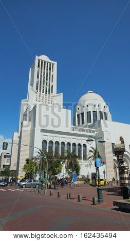 Ambato, Tungurahua / Ecuador - December 17 2016: View of the church of the Cathedral of Ambato. This church was rebuilt in 1952