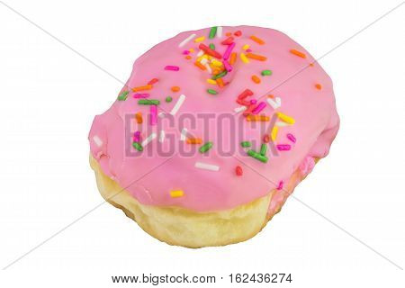 Doughnut with strawberry-flavorisolated on white background and clipping path