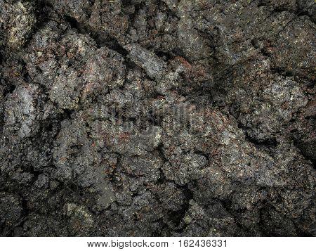 Dark dirt brown soil ground texture and background.