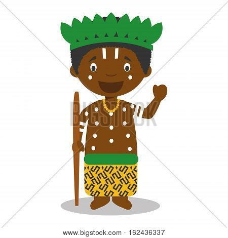 Character from Congo  dressed in the traditional way Vector Illustration. Kids of the World Collection.