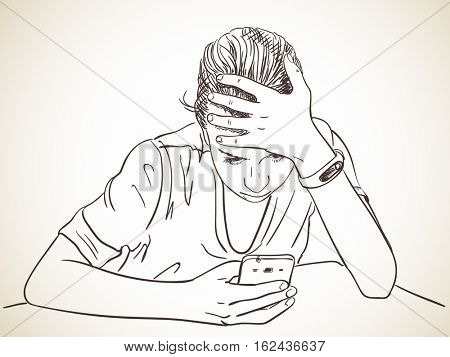 Teen girl using smartphone propping head with hand, Vector sketch, Hand drawn illustration