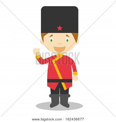 Character from Russia dressed in the traditional way Vector Illustration. Kids of the World Collection.