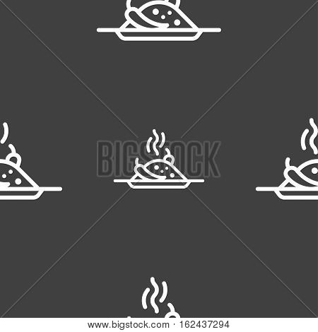 Plate With Red Hot Chili Pepper And Burning Porrige Icon Sign. Seamless Pattern On A Gray Background