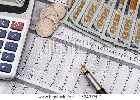 Save money concept - utility bill with pen calculator and us dollar.