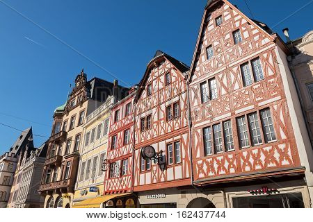 TRIER, RHINELAND-PALATINATE/ GERMANY - OCTOBER 10, 2016: Traditional German half-timbered houses on the Hauptmarkt squere