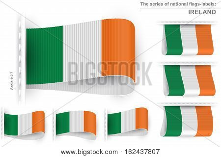 National state flag of Ireland; Sewn clothing label tag; Vector icon set flags of Republic of Ireland; Eps10