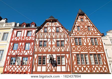 Traditional German half-timbered houses in Trier, Rhineland-Palatinate, Germany