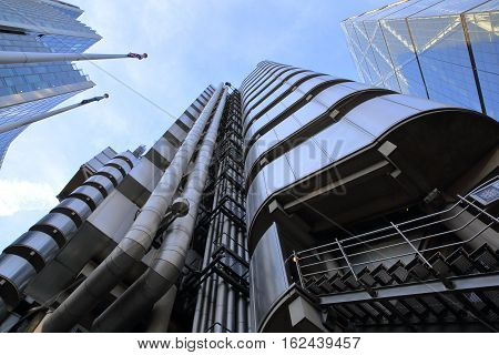 LONDON, UK - JANUARY 25, 2016: The Lloyds Building in the financial district of the City of London