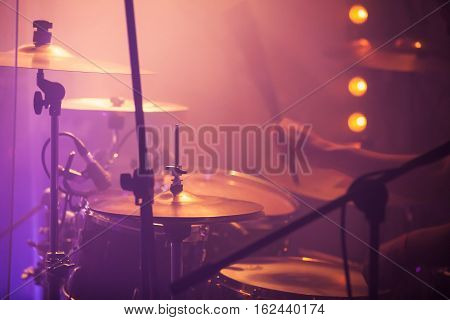 Live Music Colorful Background, Drummer