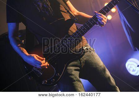 Electric Bass Guitar Player, Closeup