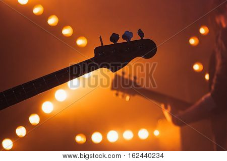 Electric Bass And Solo Guitar Silhouettes