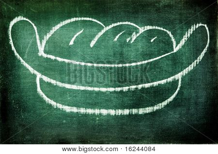 a hot dog drawn with a chalk on a blackboard