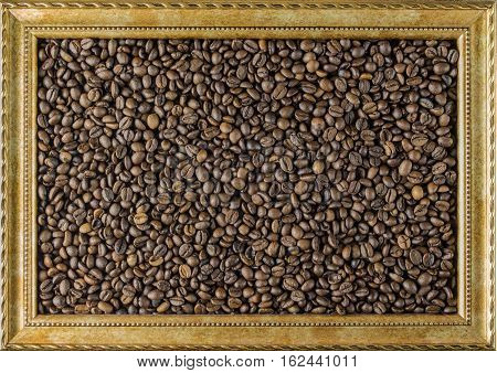 Coffee bean frame from the picture beautiful background view from the side. The concept