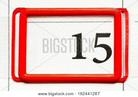 a calendar date with a number fifteen