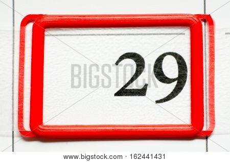 a calendar date with number twenty nine