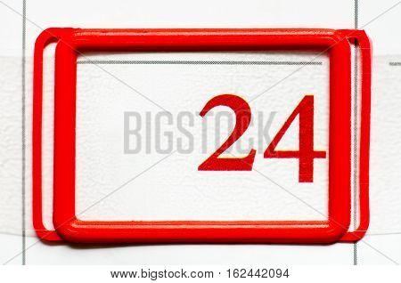 a calendar date with number twenty four