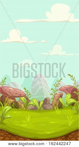 Cartoon meadow landscape with stones, grass, hills and cloudy sky. Vector nature illustration. Vertical game sunny day background for mobile phone screen.