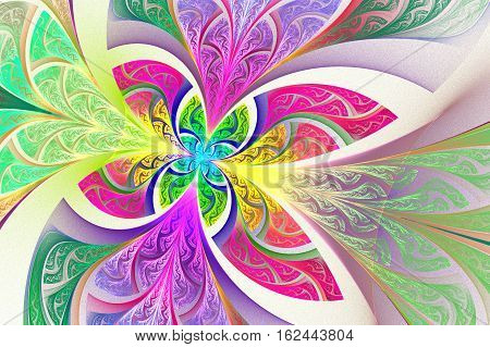 Multicolored Fractal flower or butterfly background in stained-glass window style. Artwork for creative design art and entertainment.
