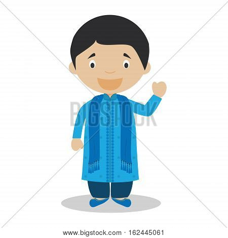 Character from Bangladesh dressed in the traditional way Vector Illustration. Kids of the World Collection.