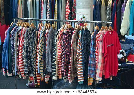 PARMA, ITALY - DECEMBER 01, 2015: Flea market for clothes, December 01, 2015 in Parma, Italy