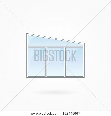 Window frame vector illustration, threefold closed modern window with trapezium top. White plastic window with blue sky glass, outdoor objects collection, flat style. Isolated design element. Eps 10